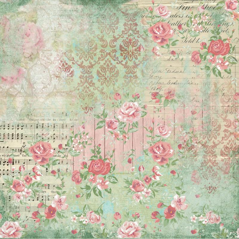 Antique Botanical Collage - Shabby Chic - Pink Roses - French Ephemera - Sheet Music - Wood Textures. Collage paper design combining a selection of floral stock illustration