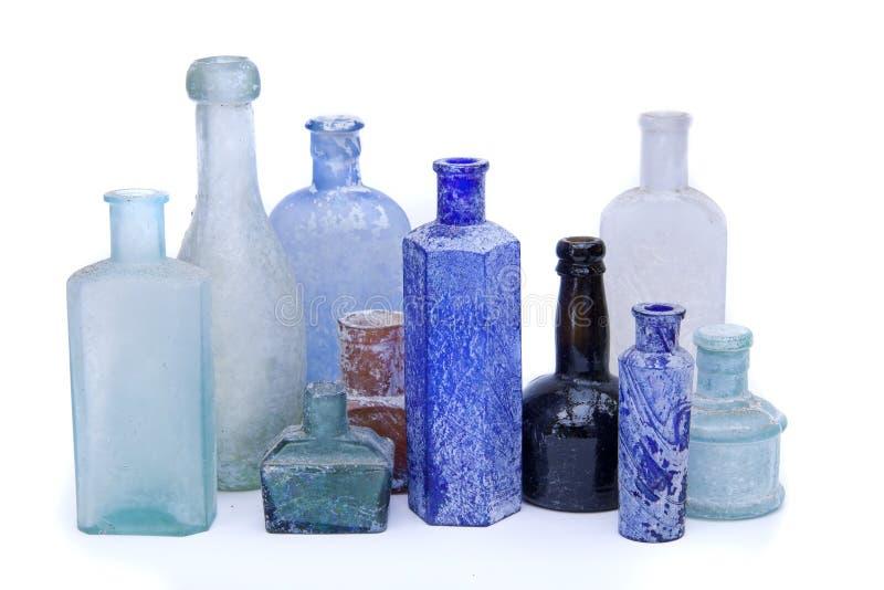Antique bottles stock photo