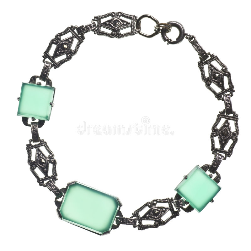 Antique bracelet with green stones stock photo