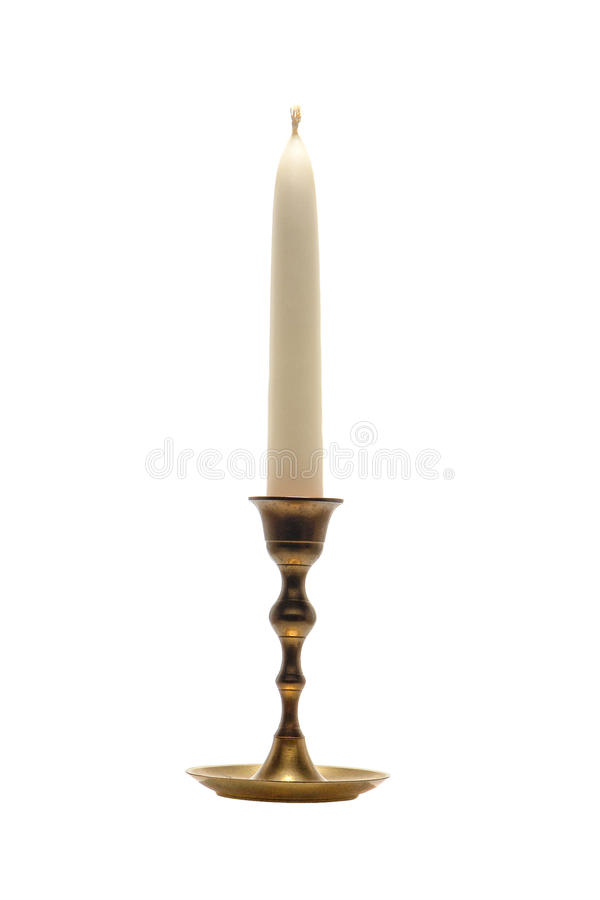 Antique Brass Candlestick Candleholder Isolated royalty free stock photo