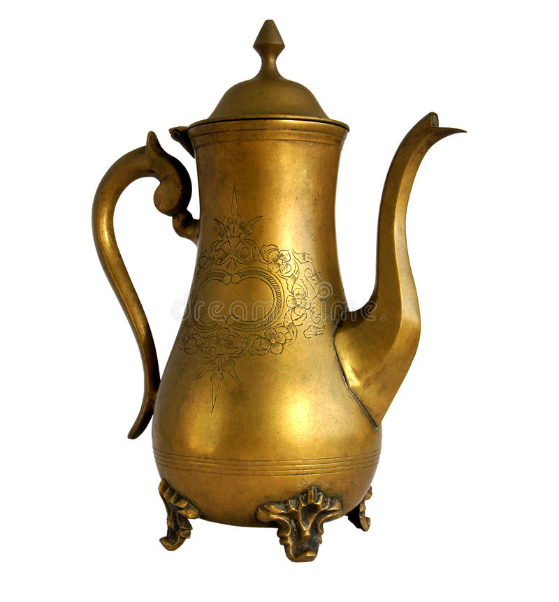 Antique brass coffeepot stock image