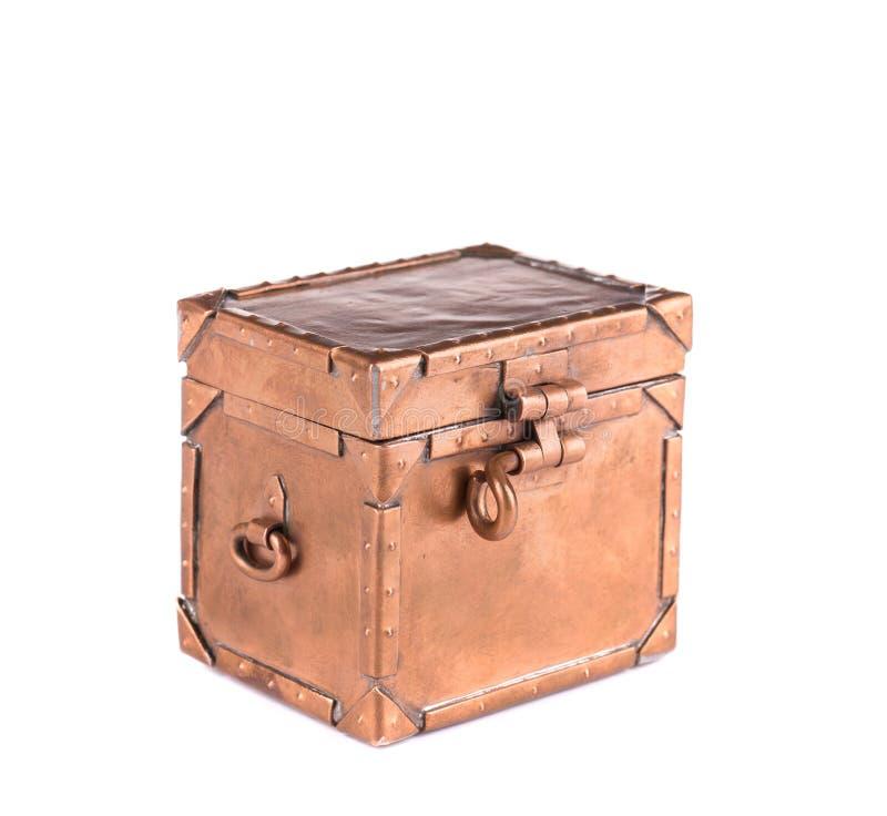 Antique Brass Coffret With Lock. Stock Photo