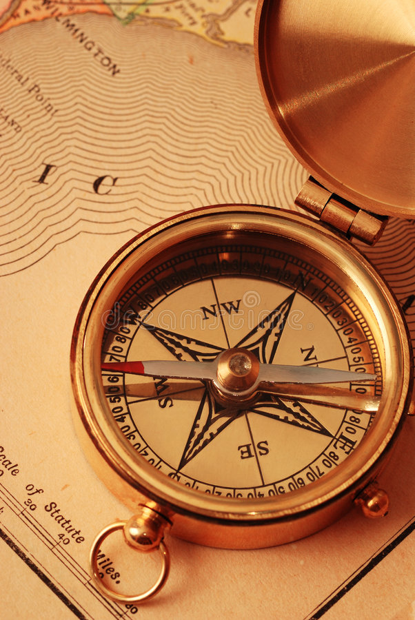 Download Antique brass compass stock photo. Image of east, america - 2411178