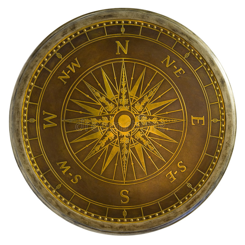 Antique Brass Compass royalty free stock photos