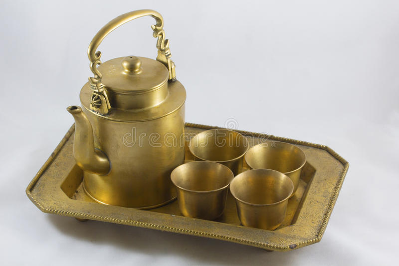 Antique brass kettle royalty free stock image