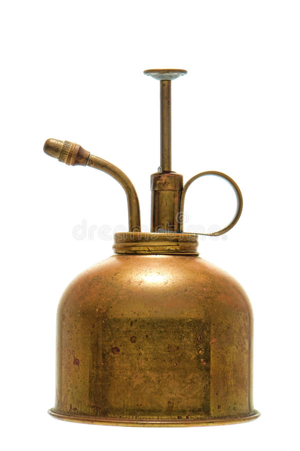 Antique Brass Plant Watering Pump Spray Can stock photo