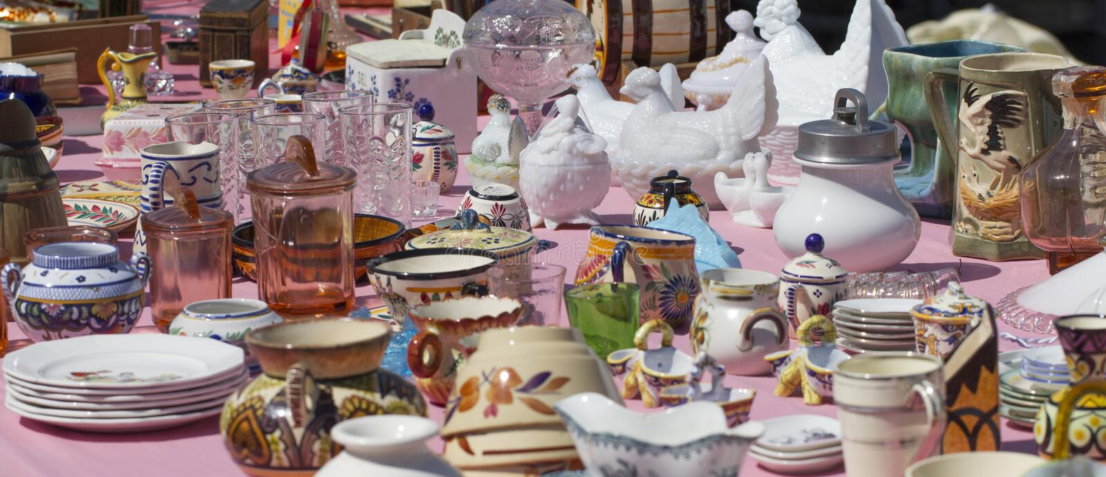 Antique bric-a-brac at flea market royalty free stock image