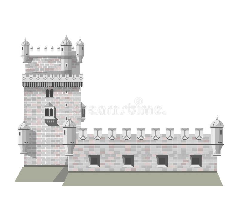Antique brick European castle with tall tower isolated illustration. Antique brick European castle with tall tower and solid walls isolated cartoon flat vector royalty free illustration
