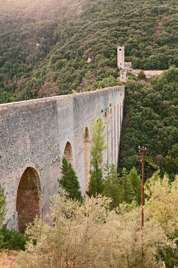 Antique Bridge Aqueduct In Sploleto, Italy Royalty Free Stock Images