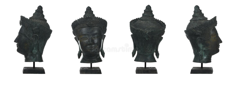 antique bronze buddha head stock photography