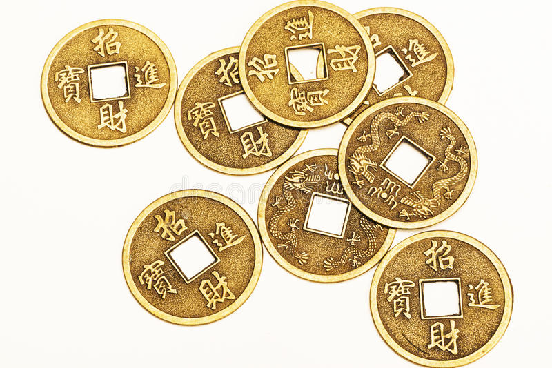 Antique bronze Chinese coins stock photography