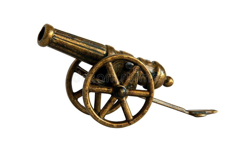 Antique bronze miniature cannon royalty free stock photo