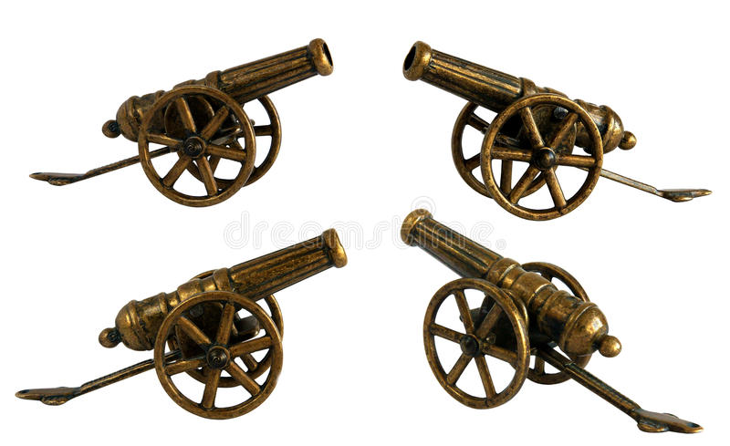 Antique bronze miniature cannon stock image