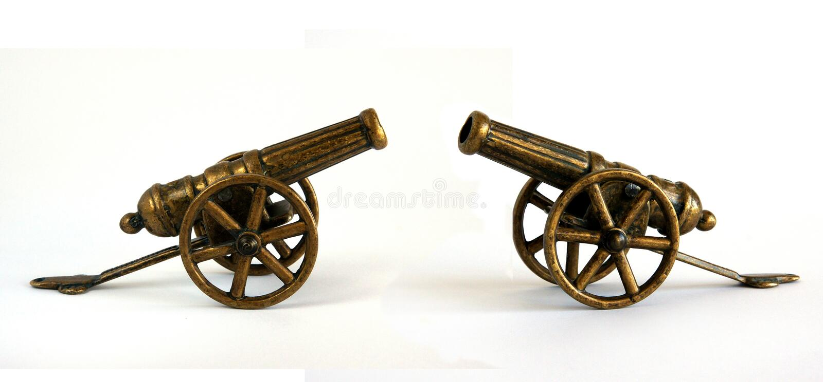 Antique bronze miniature cannon stock photos