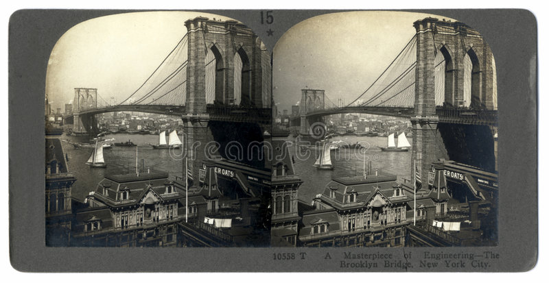 Antique Brooklyn Bridge Stereograph stock photography