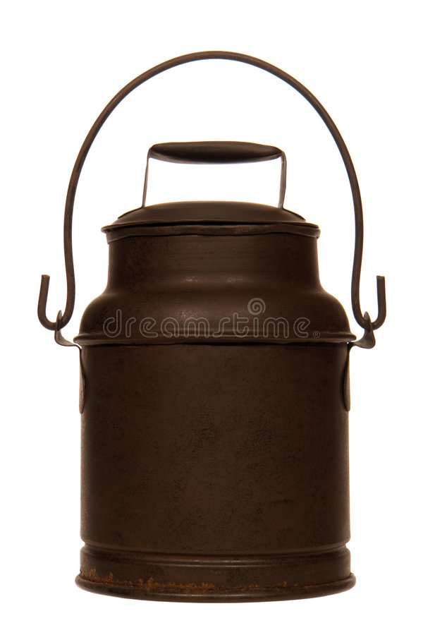 Antique Brown Steel Milk Can with Handle Isolated royalty free stock photography