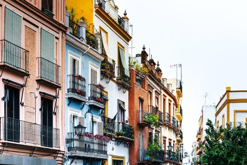 Sevilla, Spain. Antique building view in Old Town Sevilla, Spain royalty free stock photos