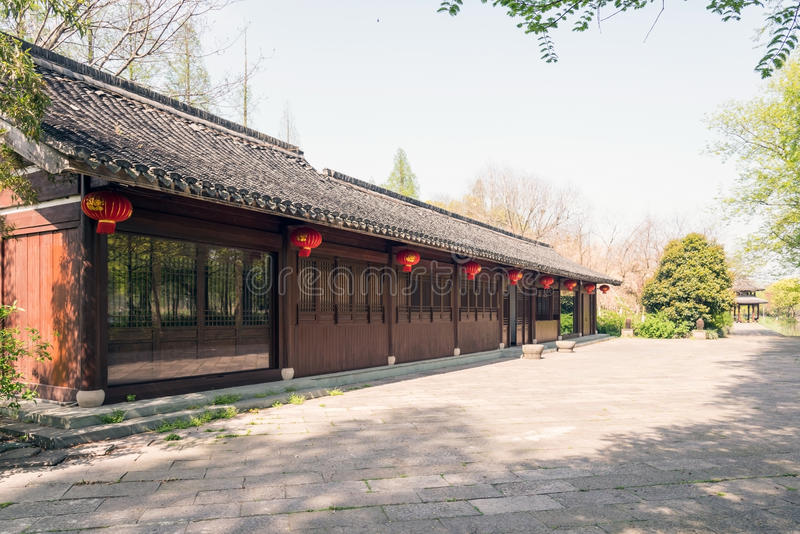 Antique buildings. And peach bloss. This photo was taken in West Lake Cultural Landscape of Hangzhou, Zhejiang province, china stock photography