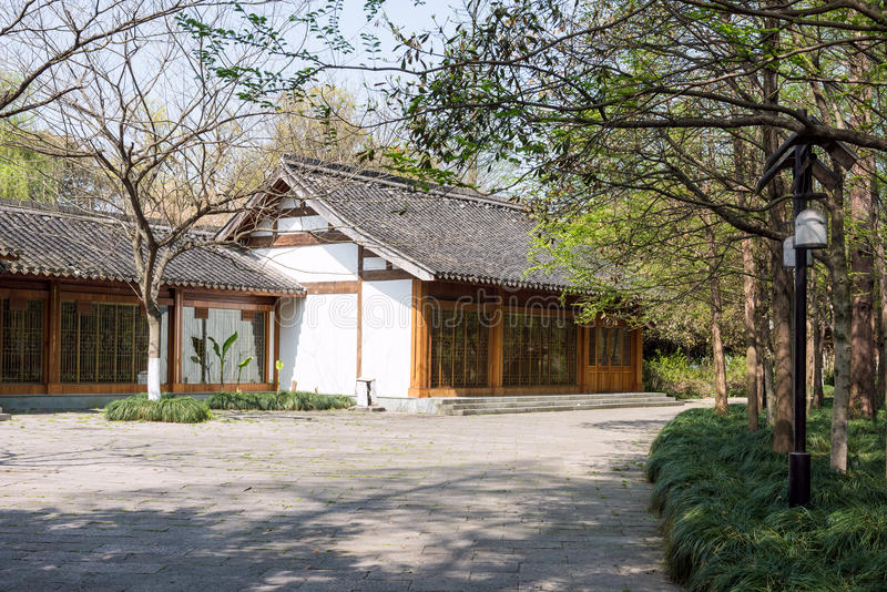 Antique buildings. And peach bloss. This photo was taken in West Lake Cultural Landscape of Hangzhou, Zhejiang province, china stock images