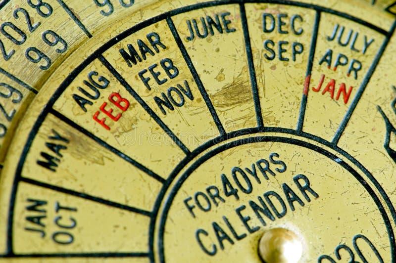 Antique calendar 2 stock images