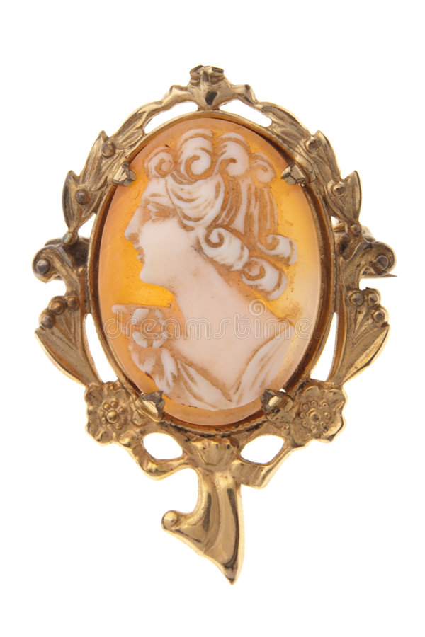 Antique Cameo brooch broach isolated on white stock images