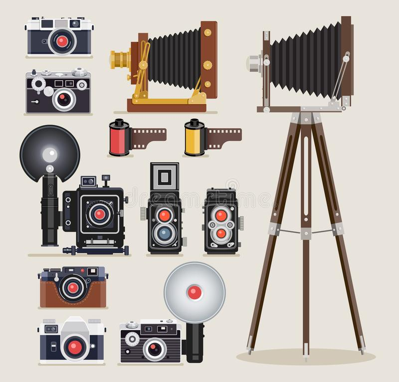 Antique camera flat icons. Vector illustrations. vector illustration