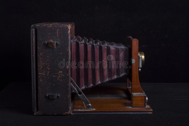 Antique Camera Wood and Leather Bellows Side stock photo