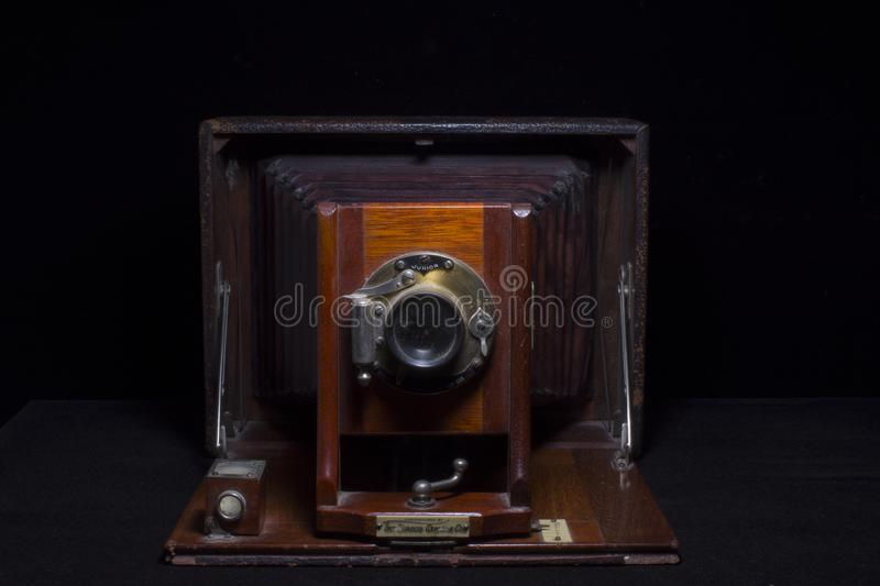 Antique Camera Wood and Leather royalty free stock photos