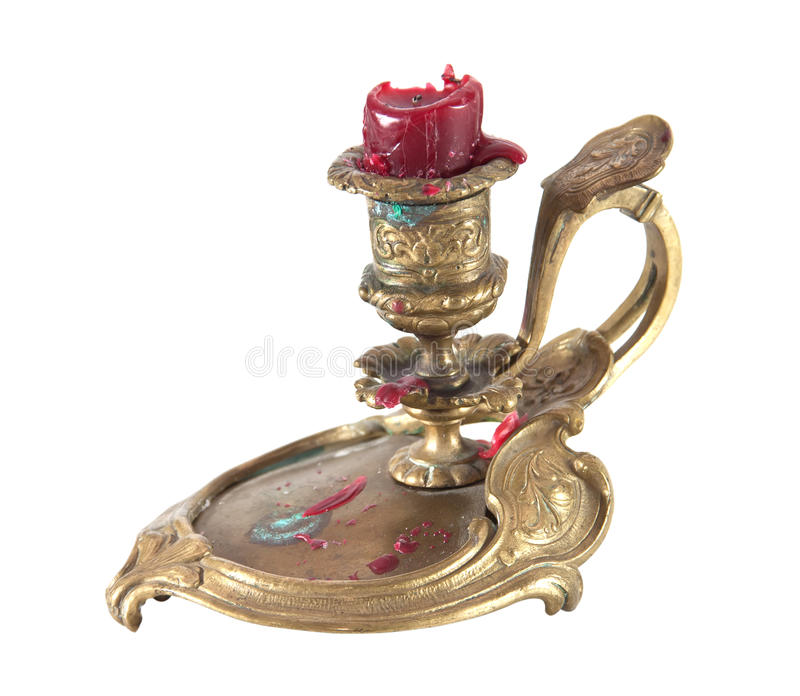 Antique candlestick. Isolated on a white background royalty free stock images