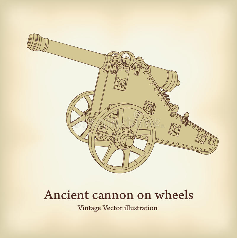 Download Antique cannon on wheels. stock vector. Image of past - 20483887