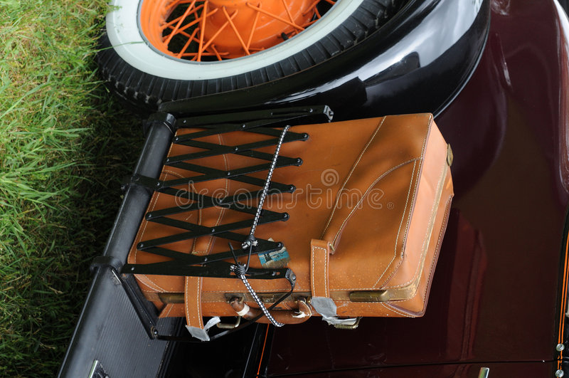 Download Antique Car With A Leather Suitcase Stock Image - Image: 5459511