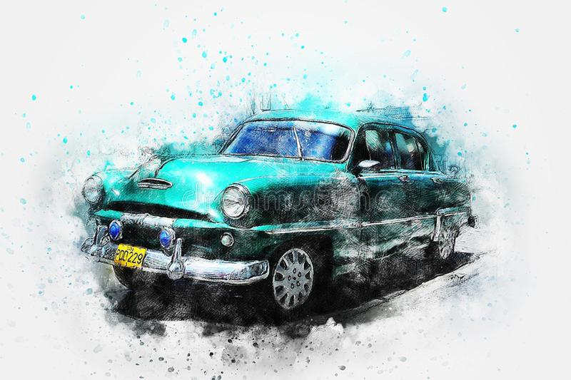 Antique Car. Watercolor painted american Antique Car royalty free illustration