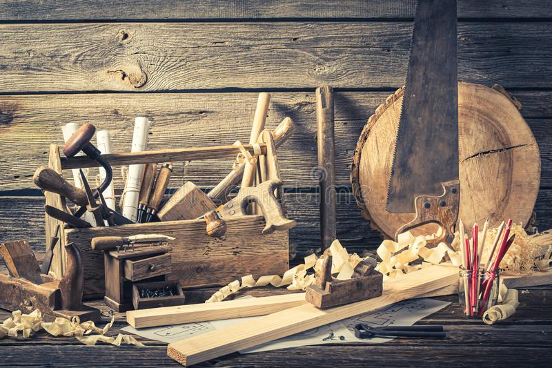 Antique carpentry workshop on rustic wooden table. Closeup of antique carpentry workshop on rustic wooden table royalty free stock photography
