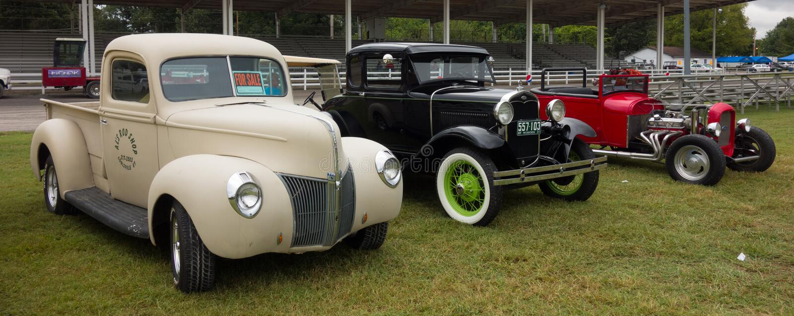 Antique cars in pristine condition at an annual summer event in paducah. Beautifully preserved vehicles on display at a county fair in kentucky stock photography