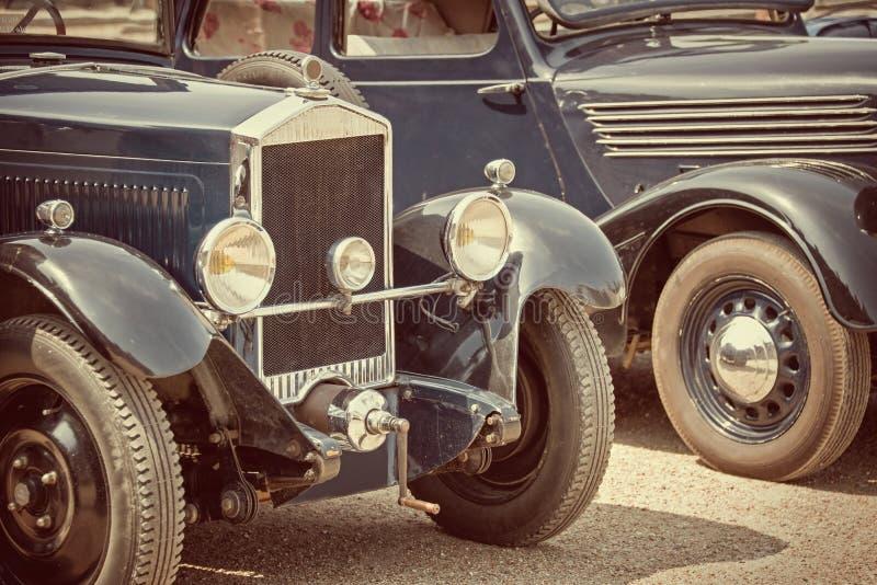 Antique cars, vintage process stock images