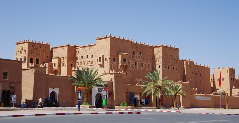 The antique Casbah in the center of Ouarzazate. OUARZAZATE,MA - CIRCA JULY 2013 - The antique Casbah in the center of Ouarzazate. The Casbah has been used also stock image