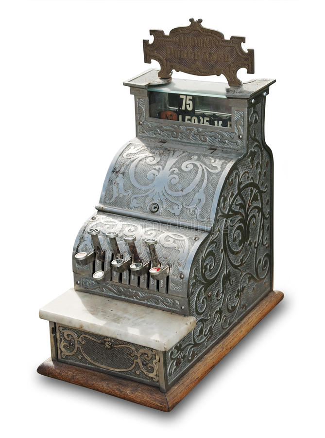 Antique cash register, isolated. Antique cash register on white with shadow and clipping path royalty free stock photography