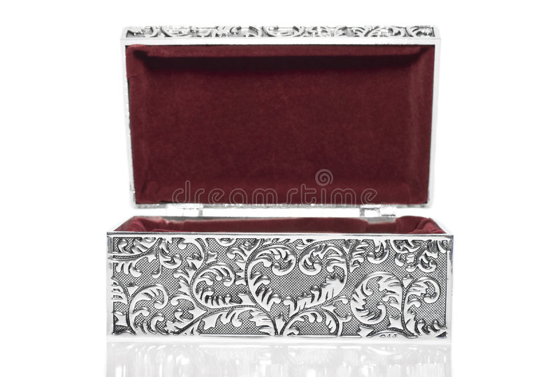 Antique casket. Old silver metallic retro casket over white background with reflection stock images