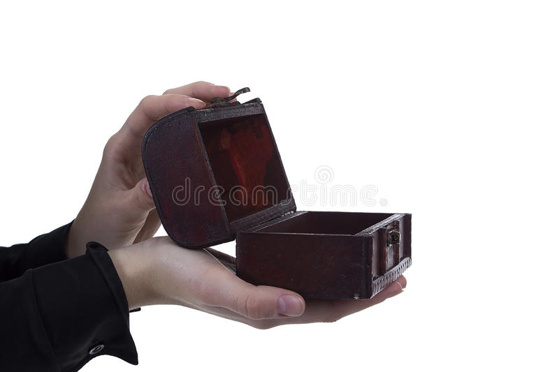 Antique casket in the hands. Antique casket in female hands on a white background stock photo