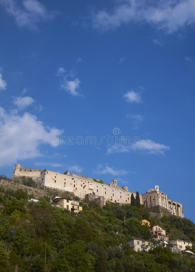 Antique castle in Massa, Tuscany, Italy. View of the antique Malaspina castle in Massa, Tuscany, Italy royalty free stock image