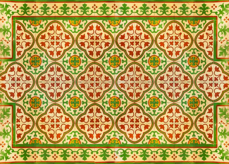 Antique ceramic mosaic pattern, Tile background, Texture floor at Supermarket Sukhumvit road Ekamai Bangkok Thailand. December 12, 2018 royalty free stock photos