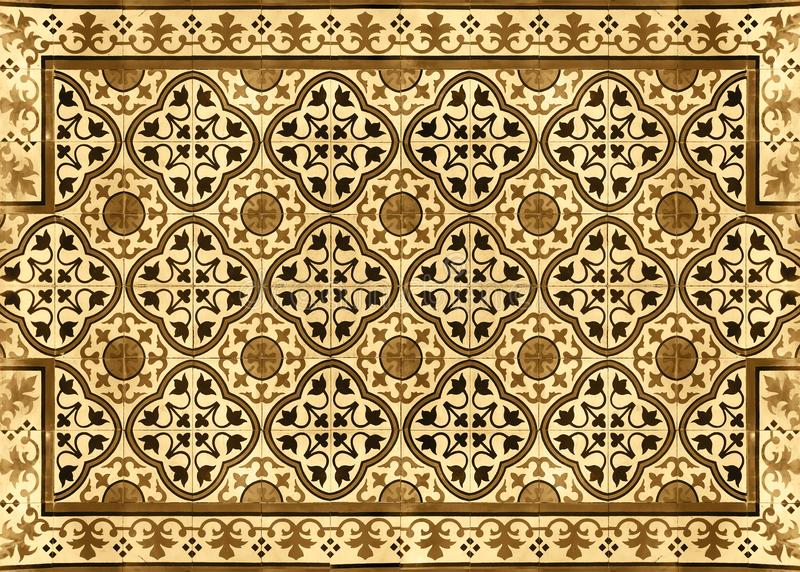 Antique ceramic mosaic pattern, Tile background, Texture floor at Supermarket Sukhumvit road Ekamai Bangkok Thailand. December 12, 2018 royalty free stock photo