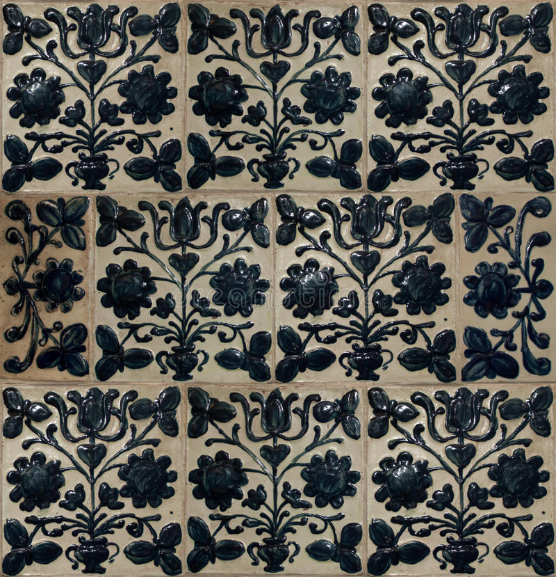 Antique ceramic tiles stock photos
