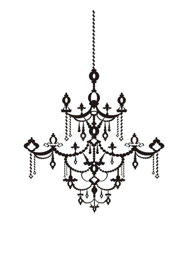 Antique chandelier. Vector Antique chandelier black on the white background, vintage style, element on decoration vector illustration