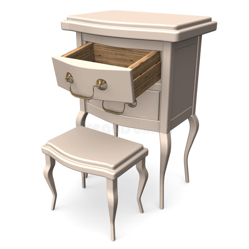 Antique Chest With Opening Drawer. 3D render illustration. on White stock illustration