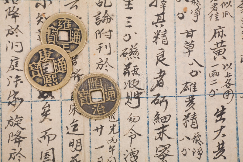 Antique chinese book page and coin. For background stock photo