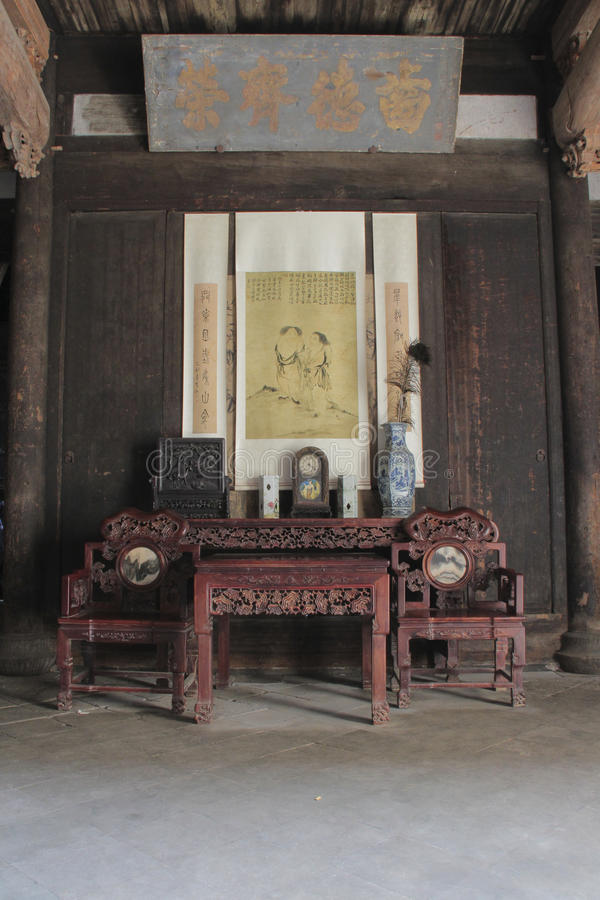 Antique Chinese furniture in historic building stock photos