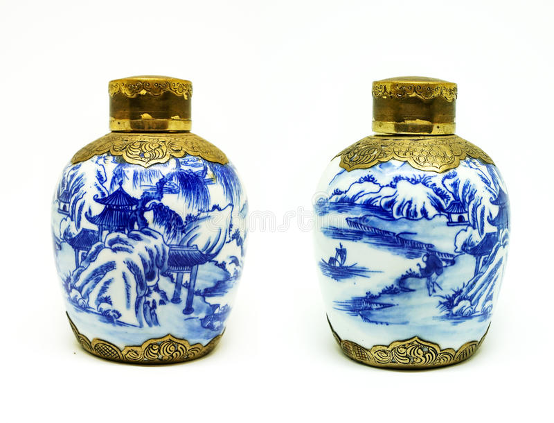 Antique Chinese jars royalty free stock photo