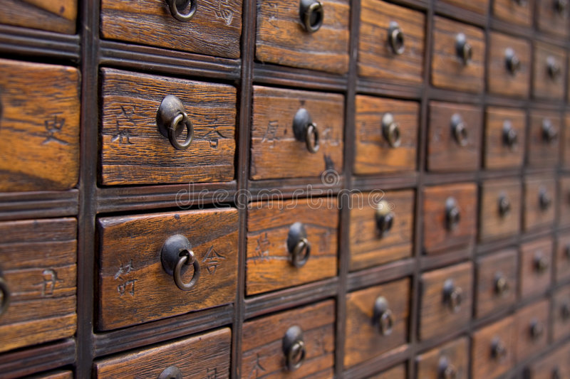 Antique Chinese Medicine Chest royalty free stock photo