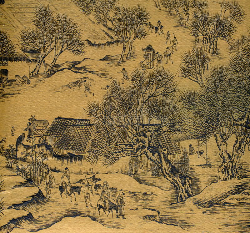 Download Antique Chinese Silk Painting Stock Illustration - Image: 4802946